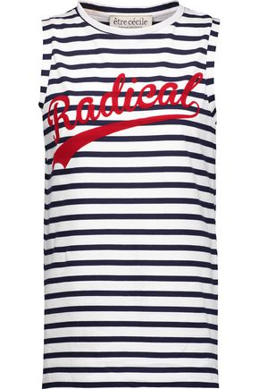 ÊTRE CÉCILE Radical flocked striped cotton-jersey tank