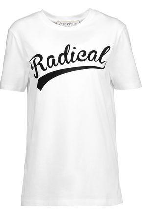 ÊTRE CÉCILE Radical flocked cotton-jersey T-shirt