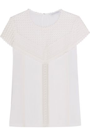 DIANE VON FURSTENBERG Lauryn pintucked cotton-blend jersey and crocheted lace top