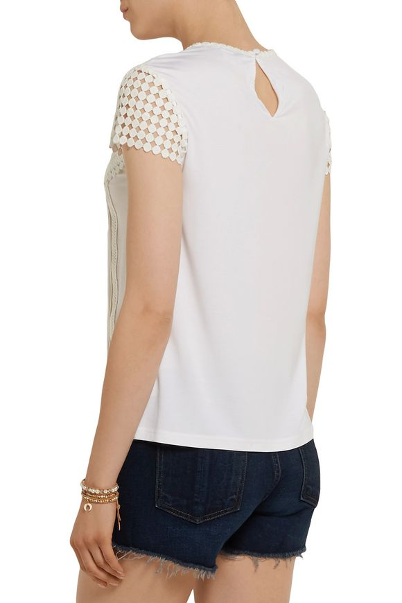 Lauryn pintucked cotton-blend jersey and crocheted lace top | DIANE VON  FURSTENBERG | Sale up to 70% off | THE OUTNET