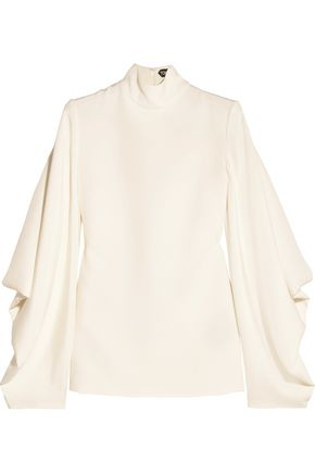 TOM FORD Open-back silk-cady turtleneck top