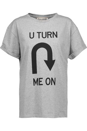 ÊTRE CÉCILE U Turn Me On printed marled cotton-jersey T-shirt