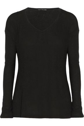 RAG & BONE/JEAN Jones cutout ribbed stretch-jersey top