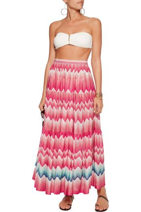 MISSONI Pleated crochet-knit maxi skirt