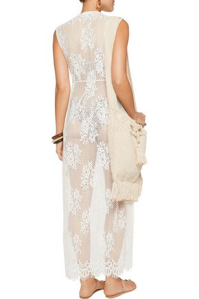 MELISSA ODABASH Audrey cotton-blend corded lace coverup