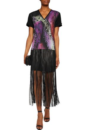 JUST CAVALLI Printed crepe de chine and stretch-jersey T-shirt