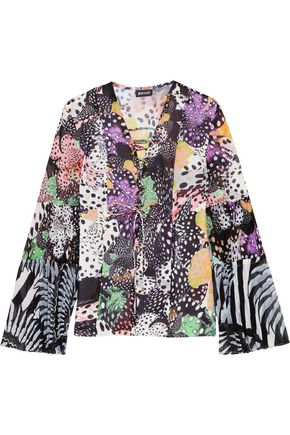 JUST CAVALLI Lace-up paneled printed crepe top