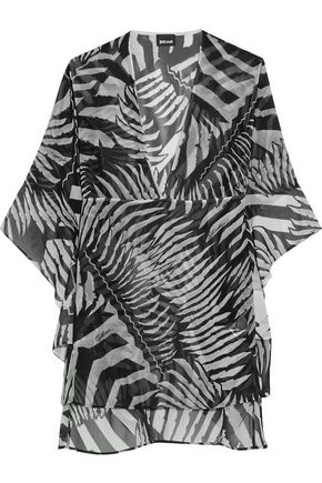 JUST CAVALLI Draped printed chiffon top