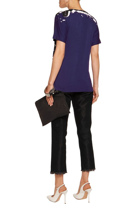 Glittered printed stretch-jersey T-shirt | JUST CAVALLI | Sale up to 70%  off | THE OUTNET