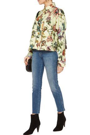 JUST CAVALLI Printed cotton-blend piqué shirt