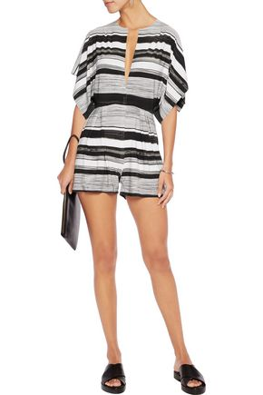 NORMA KAMALI Striped stretch-jersey playsuit