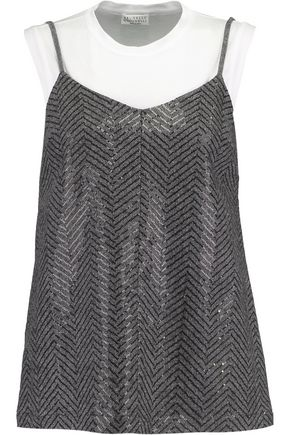 BRUNELLO CUCINELLI Layered embellished cotton-blend jersey top