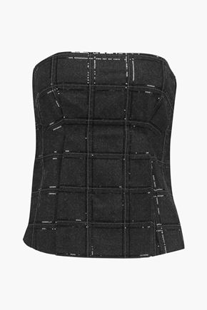 BRUNELLO CUCINELLI Sequin-embellished wool-blend bustier top