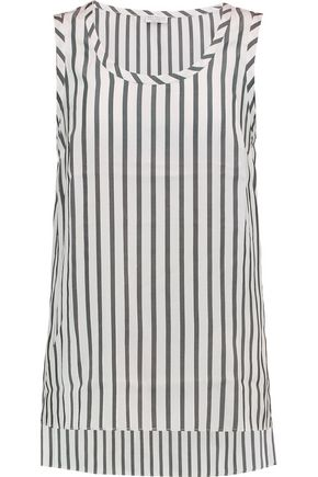 BRUNELLO CUCINELLI Striped washed-silk top