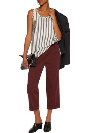 BRUNELLO CUCINELLI Striped washed-silk top