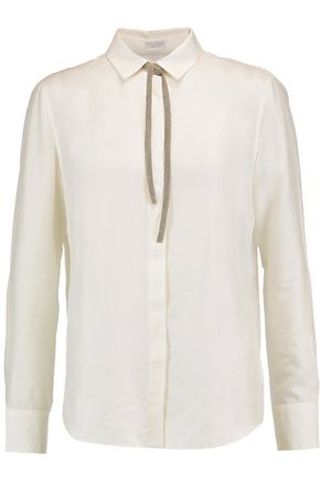BRUNELLO CUCINELLI Chain-trimmed pussy-bow silk blouse