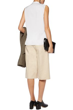 BRUNELLO CUCINELLI Piqué-paneled silk-blend top