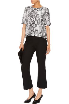 EQUIPMENT Snake-print washed-silk top