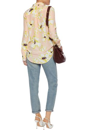 EQUIPMENT Floral-print washed-silk shirt