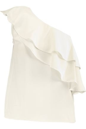 W118 by WALTER BAKER One-shoulder layered crepe de chine top