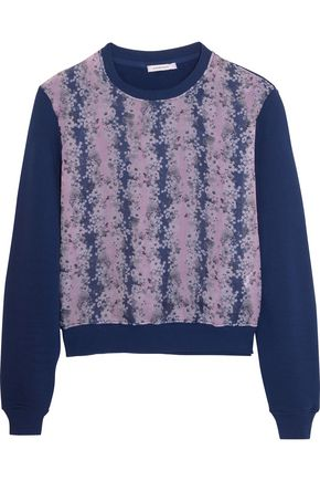 CARVEN Printed silk-organza and cotton-jersey sweatshirt