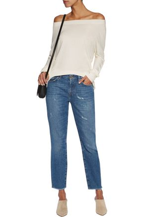 SPLENDID Luxe ribbed cotton and cashmere-blend top