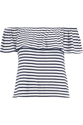 SPLENDID Off-the-shoulder striped jersey top