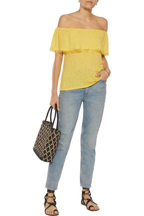 SPLENDID Off-the-shoulder frayed Supima cotton and Micro Modal-blend jersey top