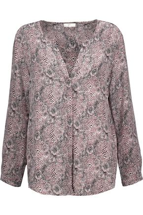JOIE Purine printed washed-silk top
