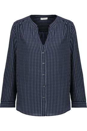 JOIE Kira striped washed-silk top