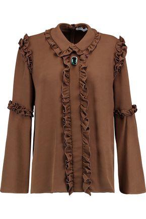 VIVETTA Embellished ruffle-trimmed crepe blouse