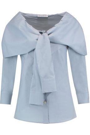 VIVETTA Layered knotted cotton-blend poplin shirt