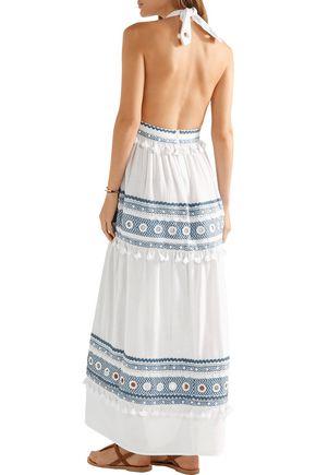 DODO BAR OR Embellished embroidered cotton-gauze halterneck maxi dress