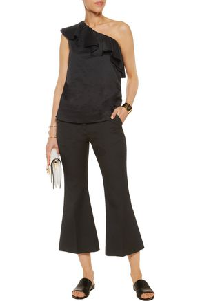 THEORY Damarill one-shoulder ruffled cotton top