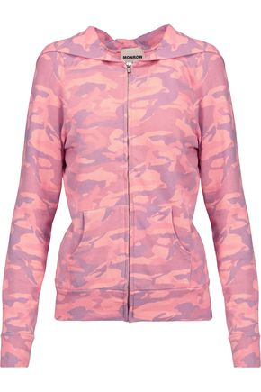 MONROW Printed jersey hooded jacket