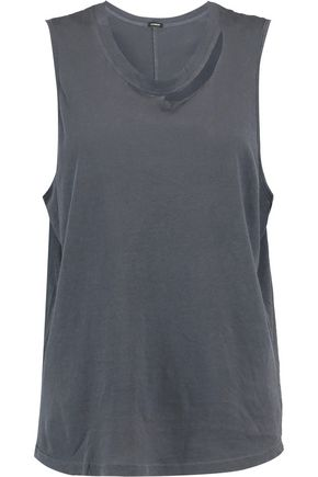 MONROW Slash cutout cotton-jersey tank