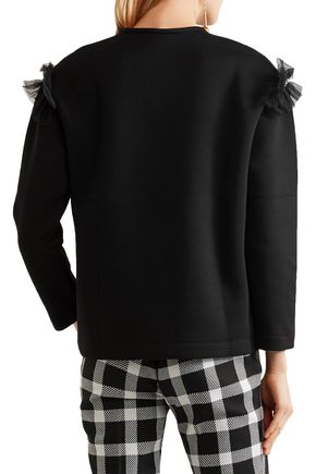 MOTHER OF PEARL Helma embellished tulle-trimmed cotton and modal-blend neoprene sweatshirt