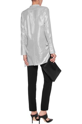 HALSTON HERITAGE Asymmetric metallic striped cotton-voile tunic