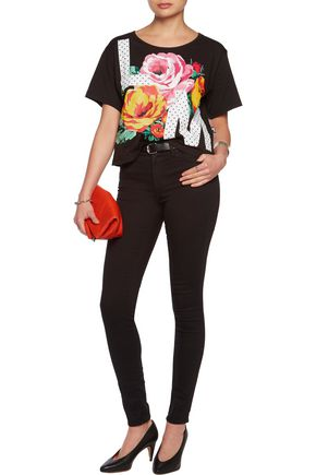 LOVE MOSCHINO Cropped printed cotton T-shirt