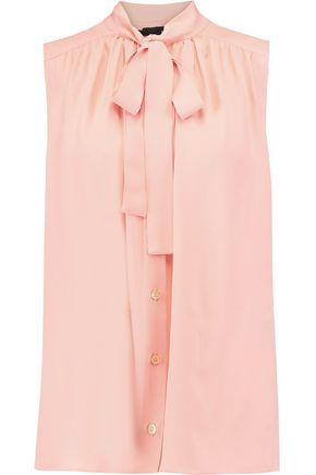 LOVE MOSCHINO Pussy-bow pleated georgette top