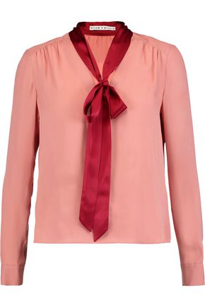 ALICE + OLIVIA Irma pussy-bow washed-silk blouse