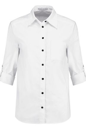 ALICE + OLIVIA Brita embroidered cotton-blend poplin shirt