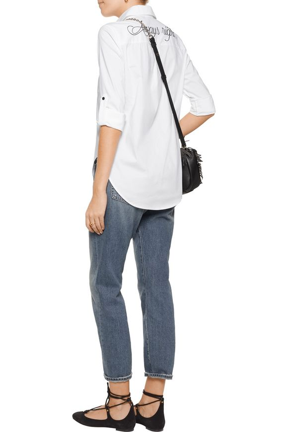 Brita embroidered cotton-blend poplin shirt | ALICE + OLIVIA | Sale up to  70% off | THE OUTNET