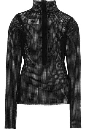 MM6 by MAISON MARGIELA Velvet mesh turtleneck top
