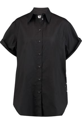 MM6 by MAISON MARGIELA Voile-paneled cotton-poplin shirt