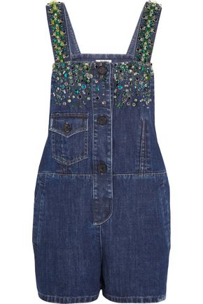 MIU MIU Embellished denim playsuit