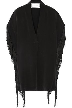 BY MALENE BIRGER Marinetta fringed silk crepe de chine top