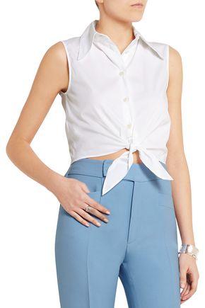 MIU MIU Cropped stretch cotton-blend top