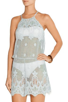 MIGUELINA Cicely crocheted cotton playsuit