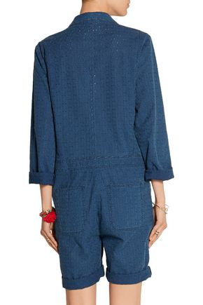 M.I.H JEANS Embroidered cotton-chambray jumpsuit
